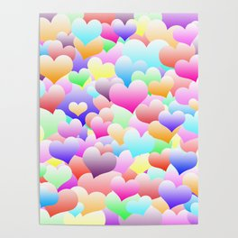 Bubble Hearts Light Poster