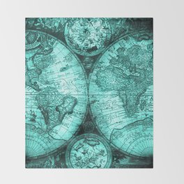 Vintage Turquoise Green Map Design Throw Blanket