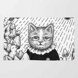 Cat Set Ink 01 Drawings - Cat in Rain Rug