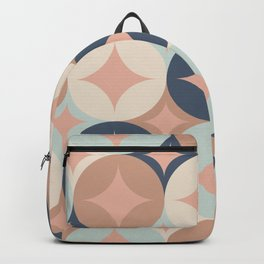 Winter, Christmas Pattern, Pink and Navy Blue, Retro Art Backpack