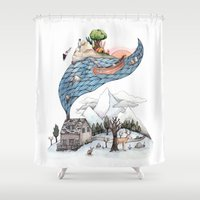 camus Shower Curtains featuring Invincible Summer by Brooke Weeber