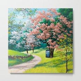 Tardis Art At The Tree Blossom Metal Print