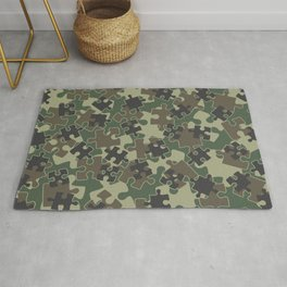 Jigsaw Puzzle Pieces Camo WOODLAND GREEN Rug