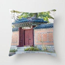 Amisan Gate & Wall, Gyeongbokgung Palace, Seoul Throw Pillow