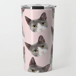 girly cute pink pattern snowshoe cat Travel Mug