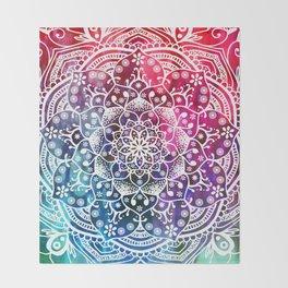Namaste Red Purple Blue Mandala Throw Blanket
