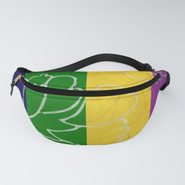 Chinese Flowers & Stripes - Purple Yellow Green Blue Fanny Pack