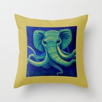 cthulu Throw Pillows featuring Octophant by Minxi