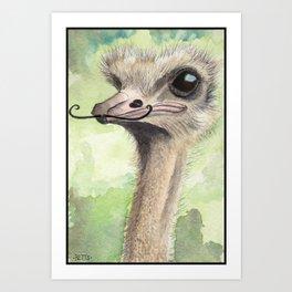 Ostrich 'Stache Art Print