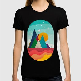 056 little owl travels the colored sunny landscape T-shirt