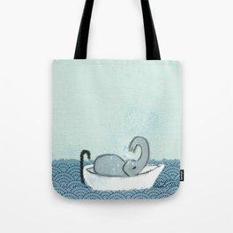 Elephant Takes A Bath Tote Bag