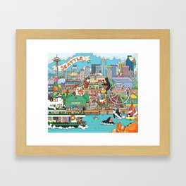 Seattle cats Framed Art Print