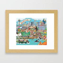 Seattle cats Framed Art Print