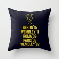 neymar Throw Pillows featuring Barcelona Champions - Berlin 2015 by Barbo's Art