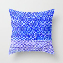painterly diamond in ocean blue Throw Pillow