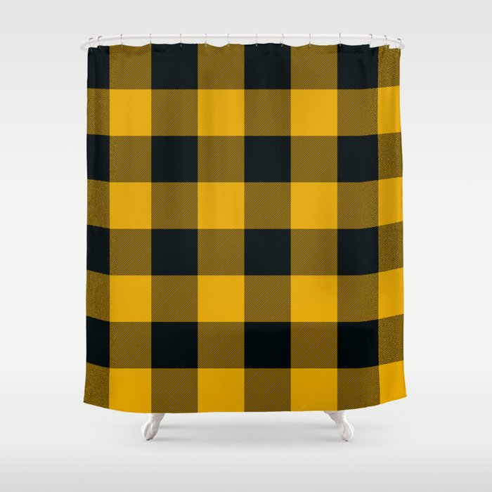 Yellow Black Buffalo Plaid Shower Curtain