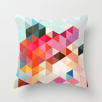 geo Throw Pillows featuring Heavy words 01. by Three of the Possessed