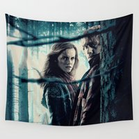hermione Wall Tapestries featuring H. Potter - Hermione & Ron by Juniper Vinetree