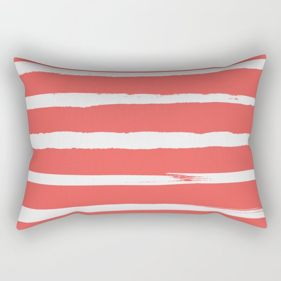 Irregular Hand Painted Stripes Coral Red Rectangular Pillow