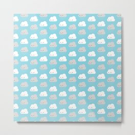 Happy and Sad Kawaii Clouds Metal Print