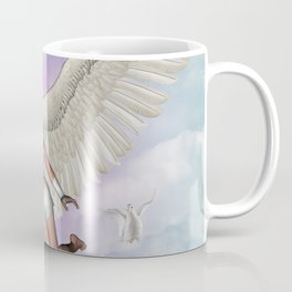 Beautiful fairy with dove flying in the sky Coffee Mug