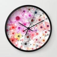 matty healy Wall Clocks featuring Flower carpet(36). by Mary Berg