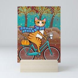 Autumn Fat Cat Bicycle Ride Mini Art Print