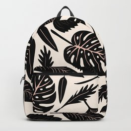 Monstera pattern in black and pastel Backpack