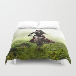 Lady knight - Warrior girl with sword concept art Duvet Cover