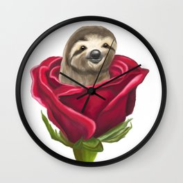 Sloth in a Rose Wall Clock