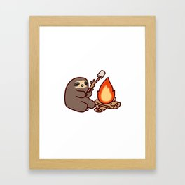 Campfire Sloth Framed Art Print