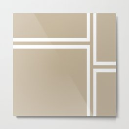 Strong Deco - Geometric Minimalism in White and Neutral Flax Metal Print