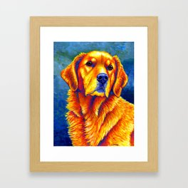 Colorful Golden Retriever Dog Portrait Framed Art Print