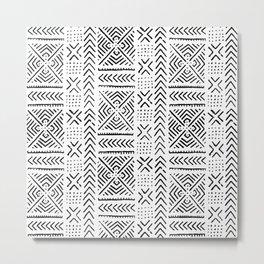 Line Mud Cloth Metal Print