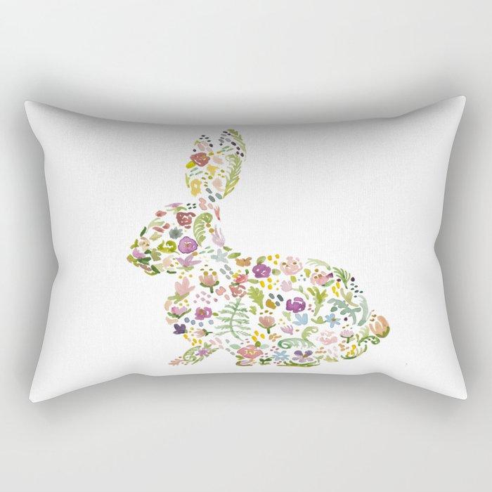 Springtime Flower Bunny Rectangular Pillow