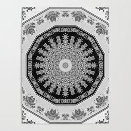 Shades of Grey - Geometric Floral Pattern Poster