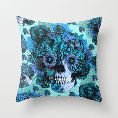 Full circle...Floral ohm skull pattern Throw Pillow