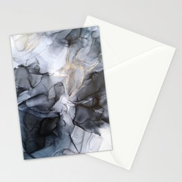 Calm but Dramatic Light Monochromatic Black & Grey Abstract Stationery Cards