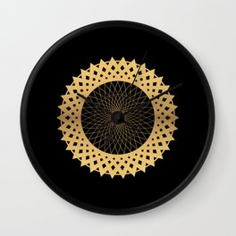 DIGRESS simple edgy gold disc on black background Wall Clock