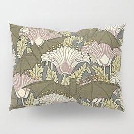 Burgundy Trimmed Art  Nouveau Bats & Poppy Patterns Pillow Sham