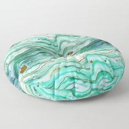Green Geode Watercolor Floor Pillow