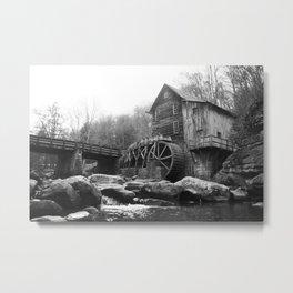 Glade Creek Grist Mill (B&W) Metal Print