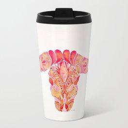 Water Buffalo Skull – Pink Ombré Metal Travel Mug