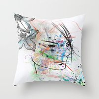 anime Throw Pillows featuring Anime 3  by Del Vecchio Art by Aureo Del Vecchio