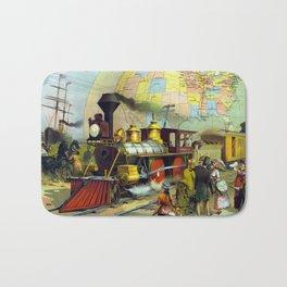 Vintage Transcontinental Railroad Bath Mat