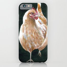 Buff Orpington Chicken with black background iPhone Case