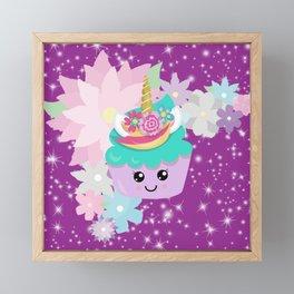 Unicorn Cupcake Sparkles Background Framed Mini Art Print
