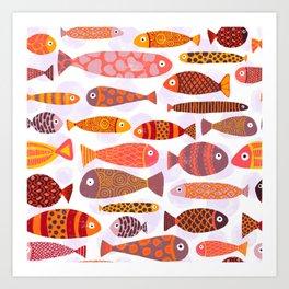 School of tropical fish pattern Art Print