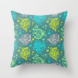 Fishes Batik Style Seamless Pattern Throw Pillow