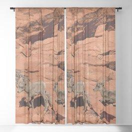 4909 - Twin Baby Desert Bighorn Sheep Sheer Curtain